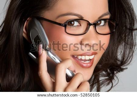 Filipino Business Phone Woman - stock photo