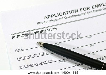 Fill in an Application form - stock photo