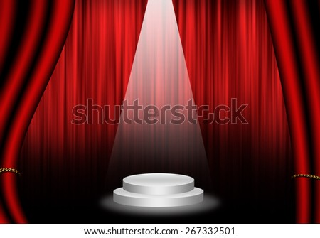 Fill object : Flare Stage with red curtain and pedestal circle.  - stock photo