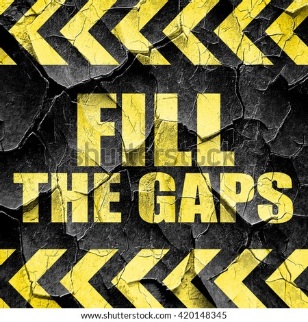 fill the gaps, black and yellow rough hazard stripes - stock photo