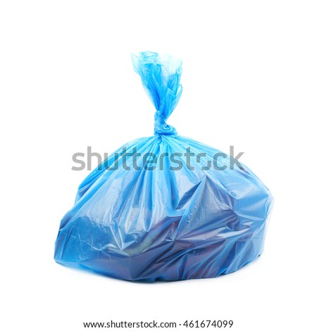 Filled blue plastic garbage bag isolated over the white background