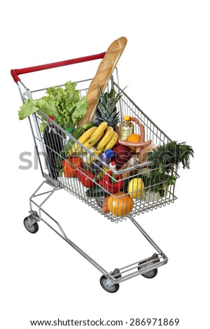 Filled foodstuffs shopping cart isolated on white background, no body, no people, the path selection is saved. - stock photo
