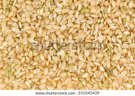 Filled frame of organic raw brown rice in horizontal format. - stock photo