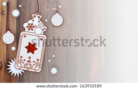 filled, illustration of a christmas card with star sign in front of a wooden background with gradient to white