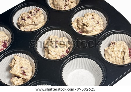 filled muffin tray - stock photo