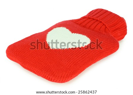 Filled red hot water bottle. White background. - stock photo