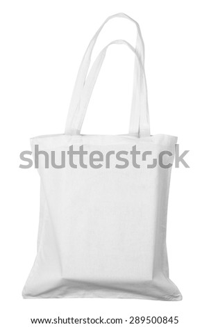 Filled white fabric bag isolated on white background - stock photo