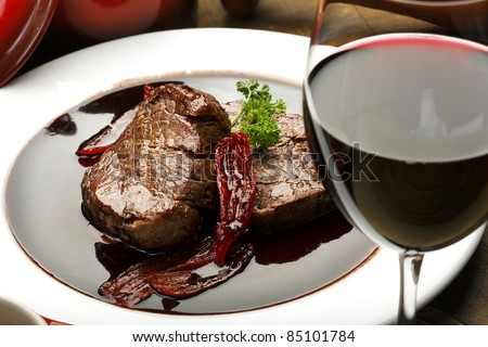 fillet mignon in red wine sauce - stock photo