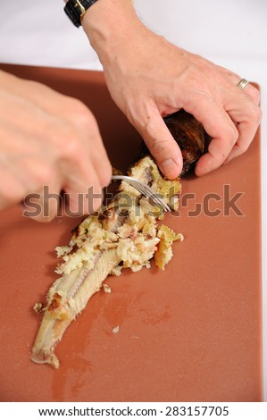Fillet of fresh raw fish - stock photo