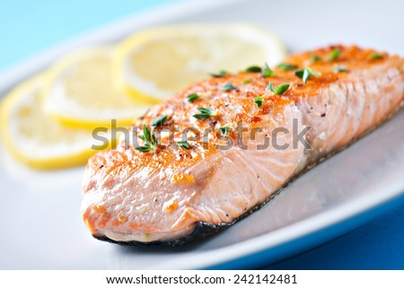 Fillet of salmon on a plate - stock photo