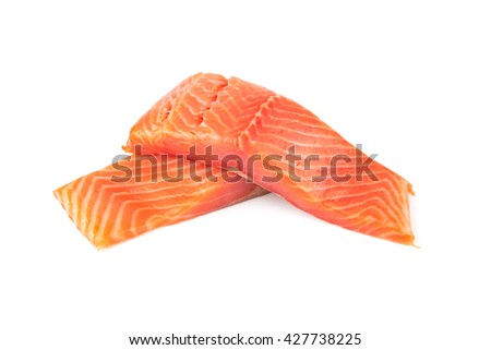 Fillet of salmon vacuum packed isolated on white background - stock photo