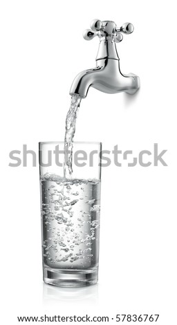 filling a glass of water from tap