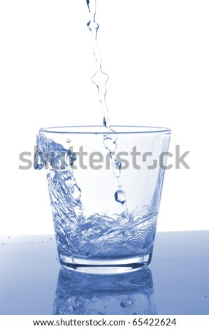 filling a glass with water showing a food concept