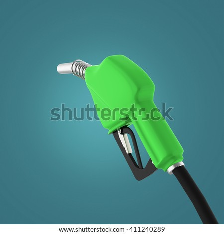 filling gun. gas refueling nozzle, gasoline pump 3d render isolated