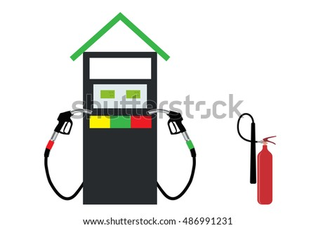 Filling Gun on Refueling the Car and fire extinguisher.  Illustration.