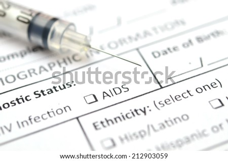 Filling Medical Form , HIV status - stock photo