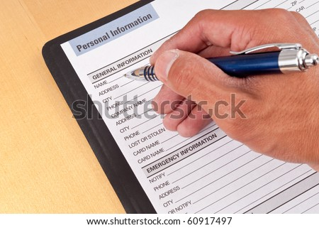 Filling Out Personal Information Worksheet
