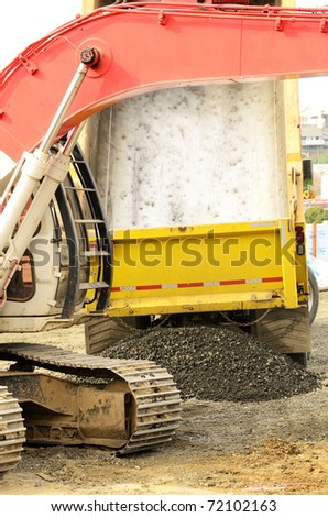 Filling the ditch with gravel new commercial development in Roseburg Oregon - stock photo