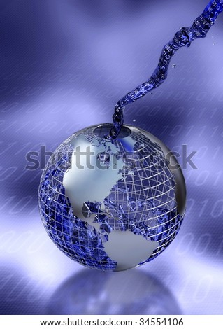 Filling the world with digital information - stock photo