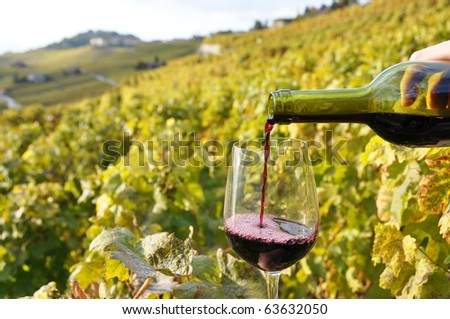 Filling up a wineglass against vineyards in Lavaux region, Switzerland - stock photo