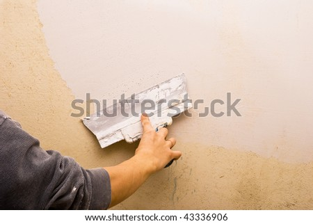 Filling walls. House repair. - stock photo
