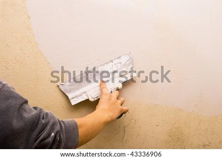 Filling walls. House repair. - stock photo