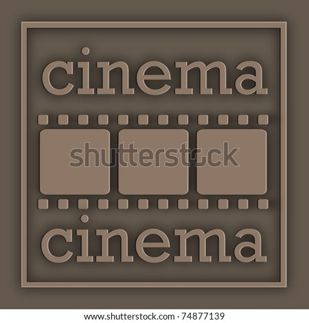 Film and an inscription placed on the plate in the frame - stock photo
