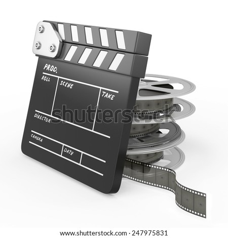 Film and Clapper board isolated on white background. 3d render image. - stock photo