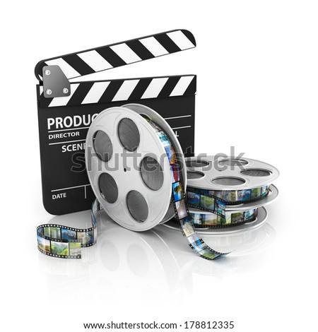 Film and Clapper board - video icon - stock photo
