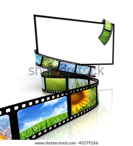 Film around blank TV - stock photo