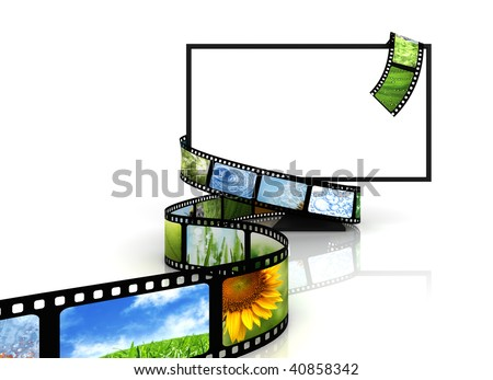 Film around blank TV - stock photo