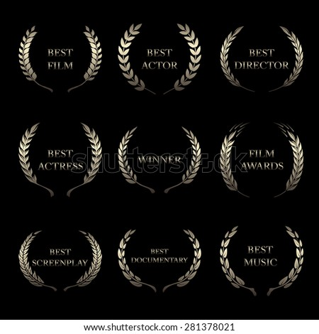 Film Awards, award wreaths on black background  - stock photo