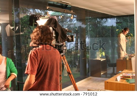 FILM; Camera and Actor - stock photo