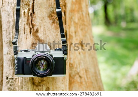 Film camera hanging on a tree in natural outdoor, vintage look - stock photo