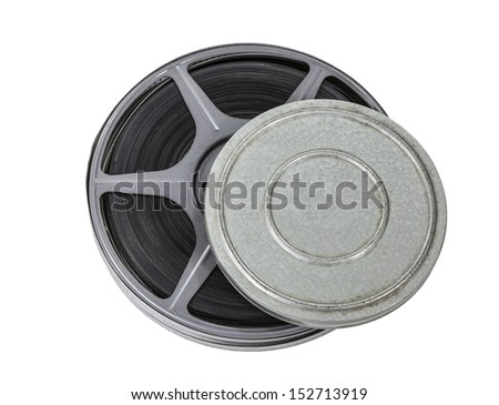 Film can and reel isolated with clipping path.