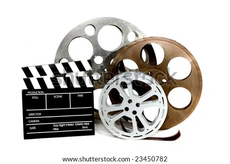 Film Canisters With Directors Clapboard on White Background - stock photo