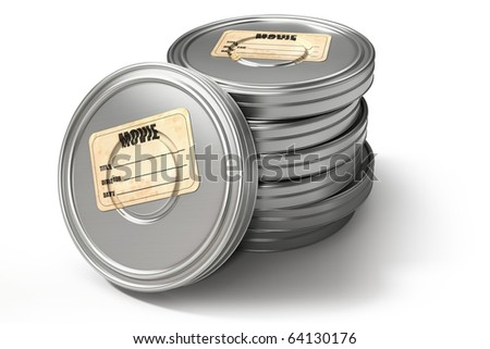 Film cans, isolated on white with clipping path, 3d render - stock photo