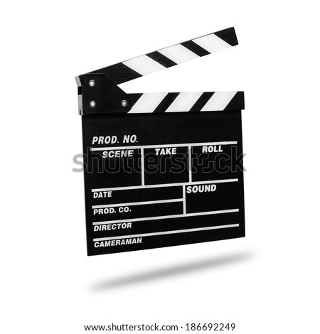 Film Clapboard. Isolated on white. - stock photo
