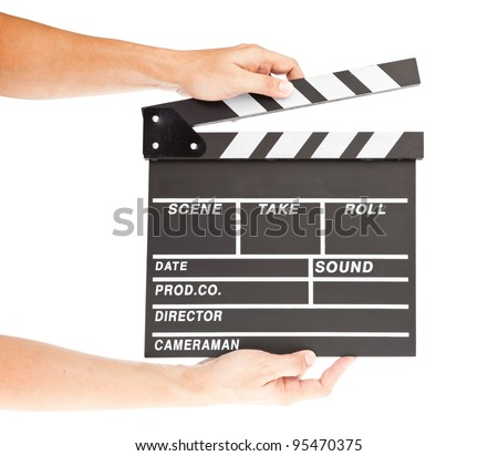 film clapper  board with space and hand - stock photo