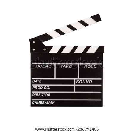 Film clapper isolated on white background