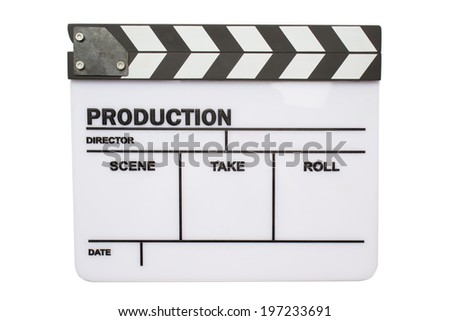 Film clapperboard on isolated background - stock photo