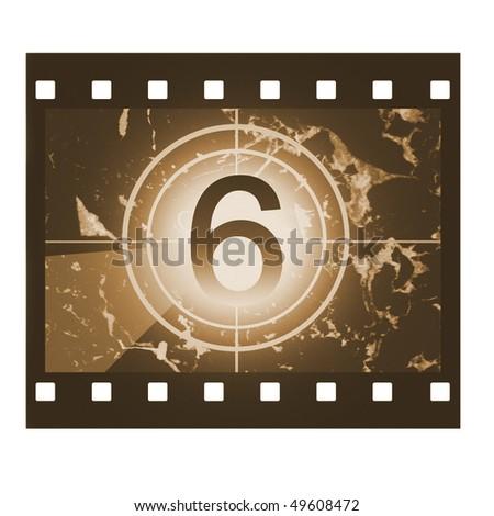 Film countdown in sepia design at No 6 - stock photo
