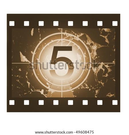 Film countdown in sepia design at No 5 - stock photo