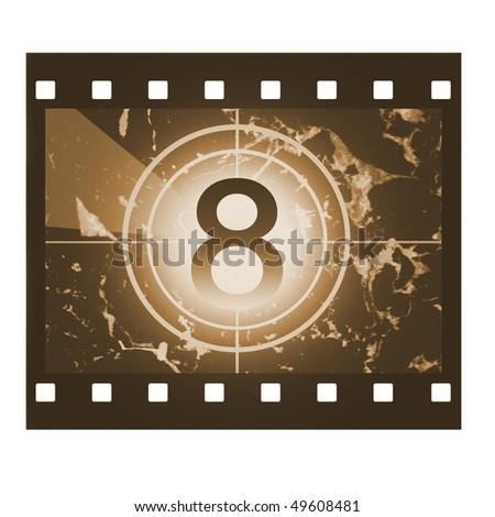 Film countdown in sepia design at No 8 - stock photo
