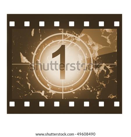 Film countdown in sepia design at No 1 - stock photo