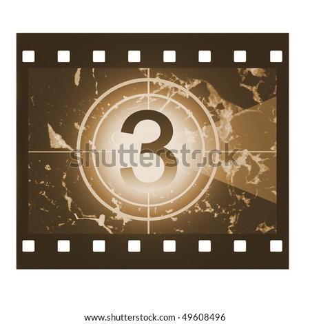 Film countdown in sepia design at No 3 - stock photo