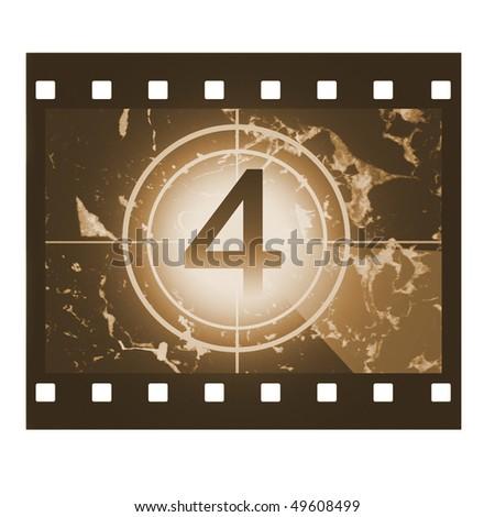 Film countdown in sepia design at No 4 - stock photo