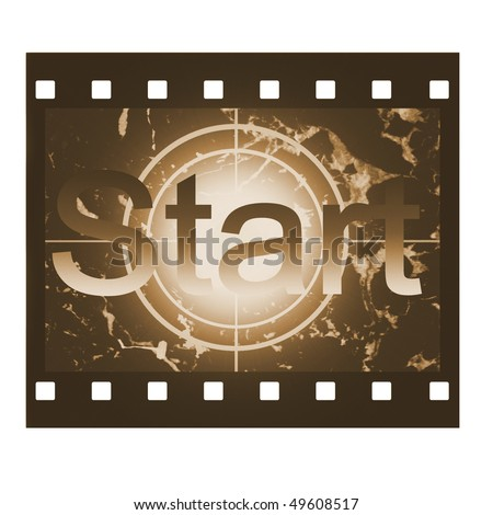 Film countdown in sepia design with Start sign - stock photo