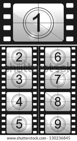 Film countdown numbers - stock photo