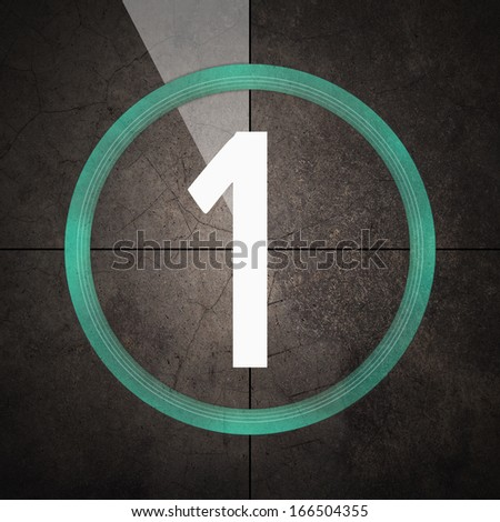 Film countdown with number one - stock photo